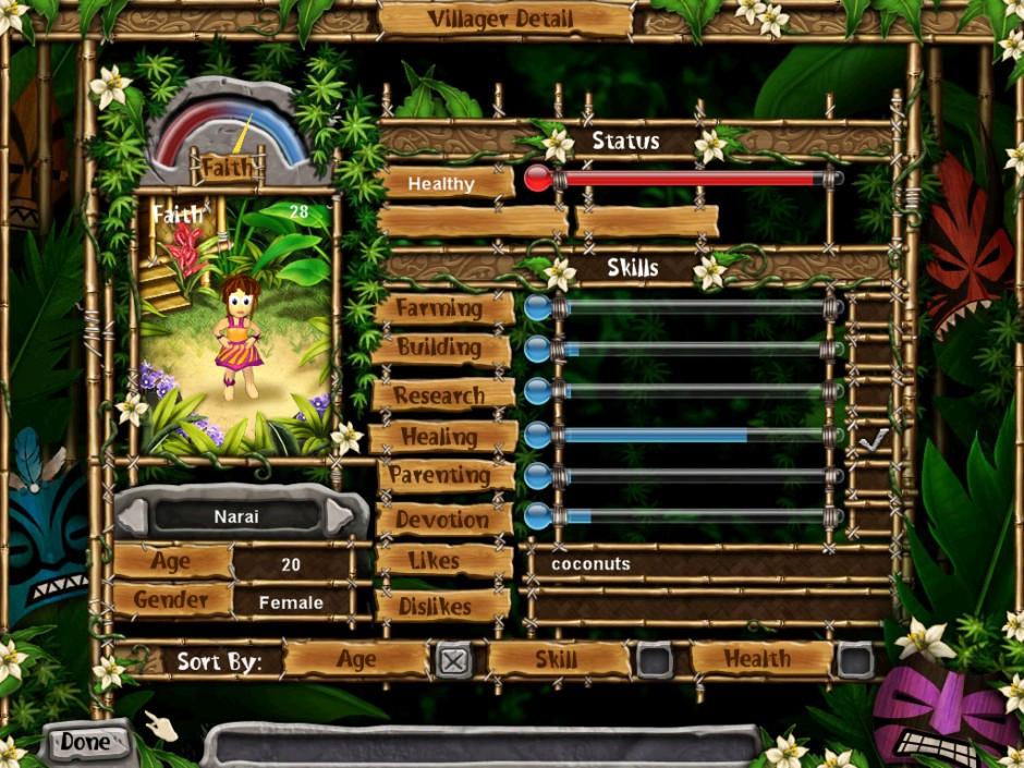 Villager detail screen