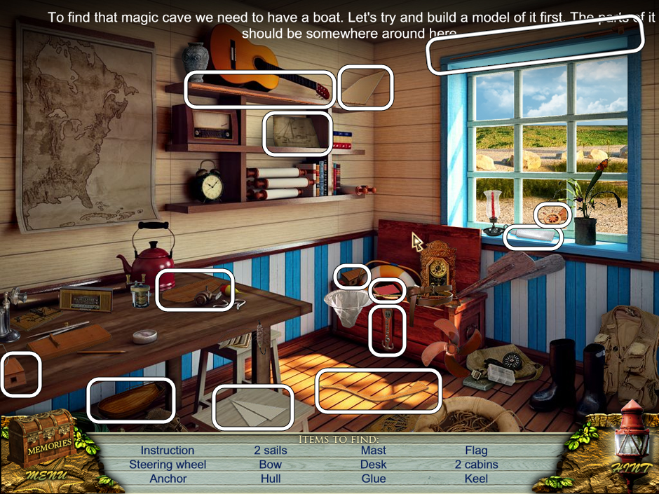 Hidden Object Scene - Find the 14 Boat pieces