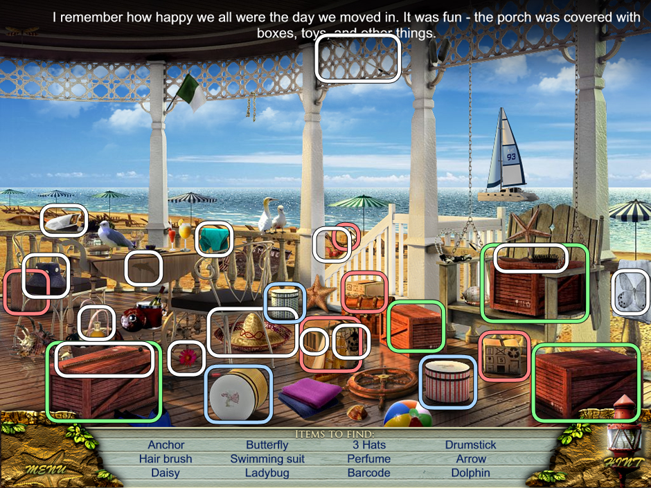Hidden Object location Love Story - the Beach House. Can you find all items
