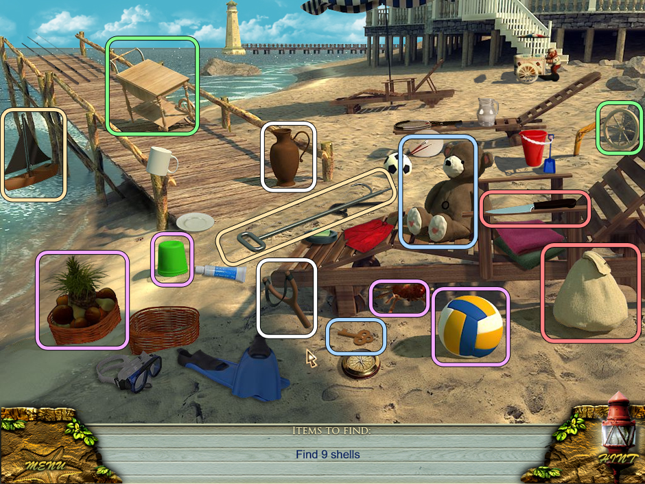 Hidden Object Scene - find the Shells. Did you find them without help?