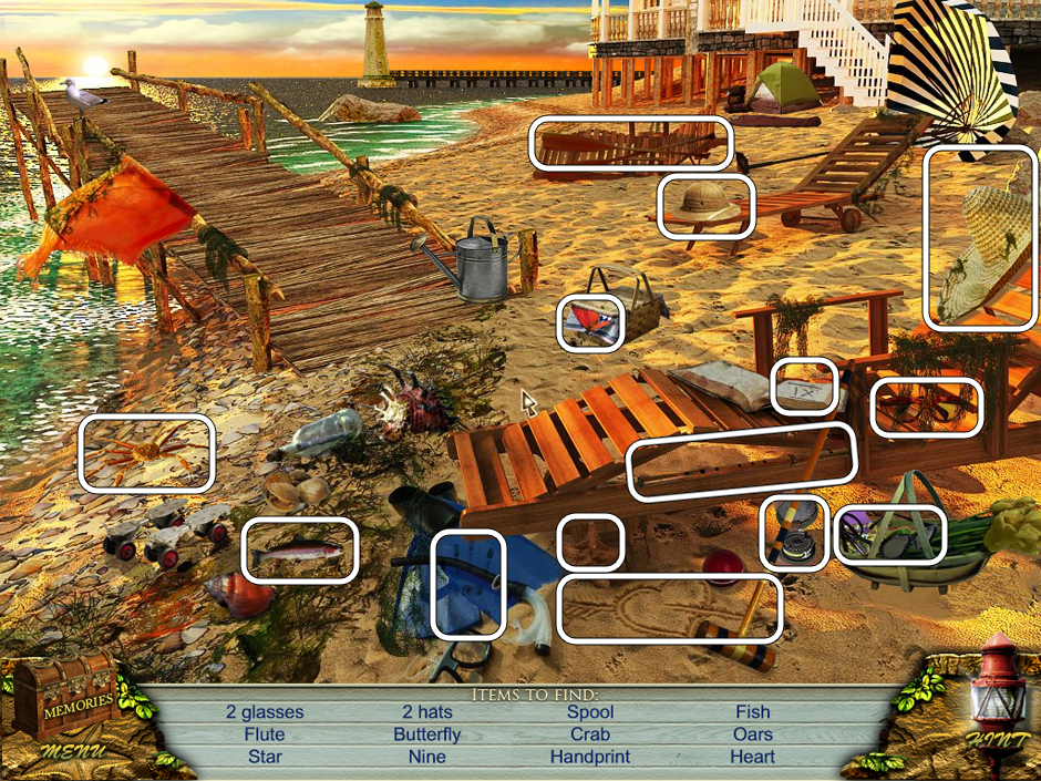 Hidden Object Scene at the beach - find all items