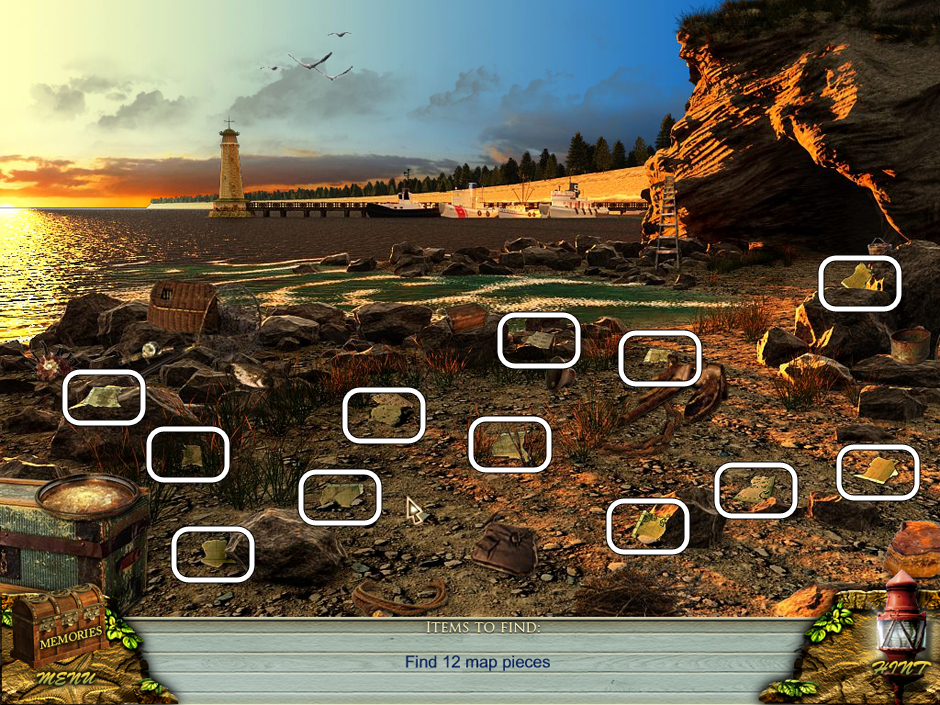 Hidden Object Scene - Collect the 12 puzzle pieces