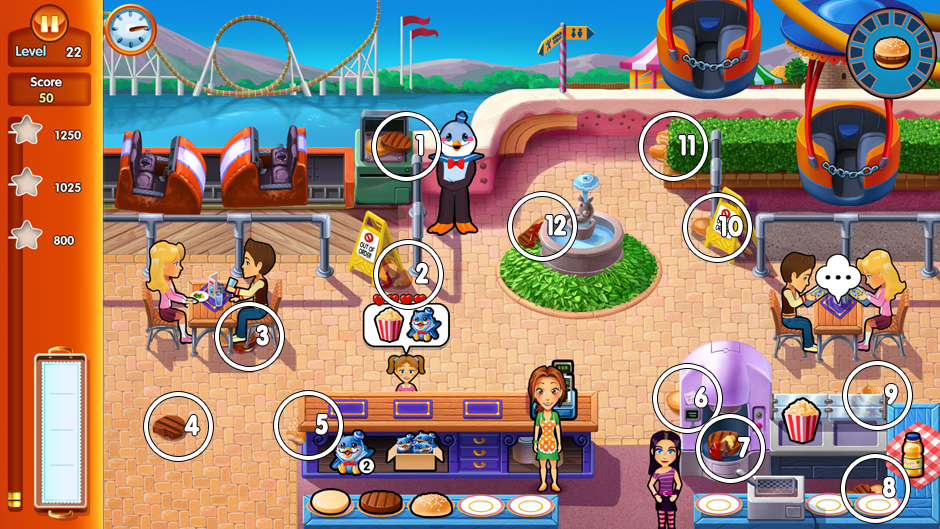 Level 22 - pieces foodfight locations in Delicous Emily's Home Sweet Home.