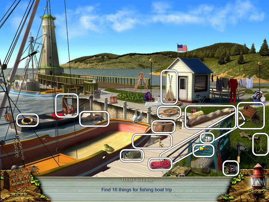 Hidden Object Scene - Can you find all fishing supplies?