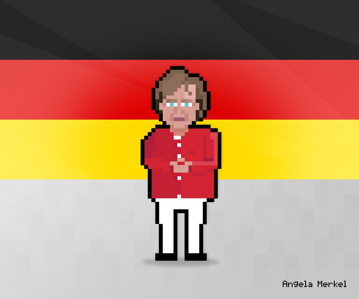 Angela Merkel as 8-bit game character