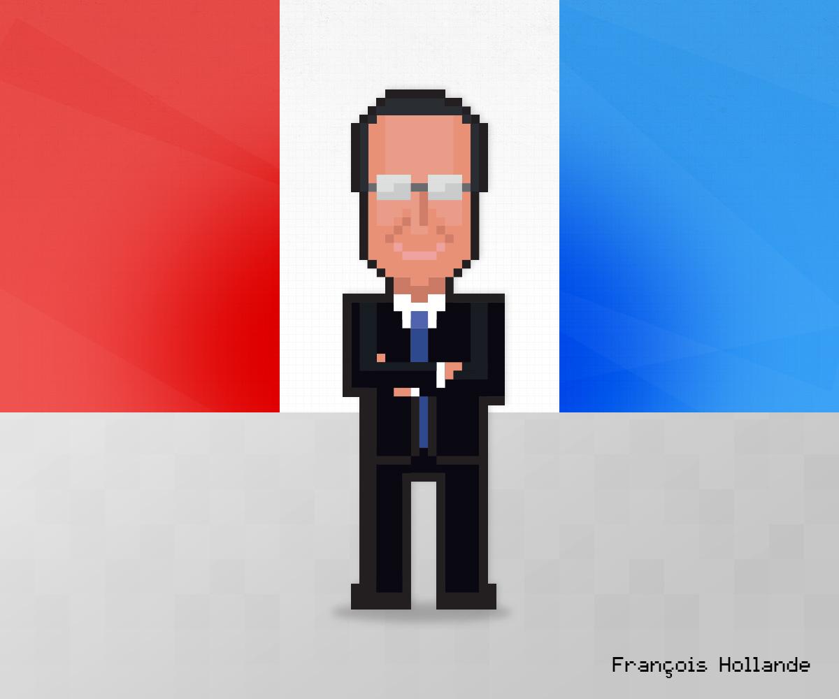 François Hollande as 8-bit game character