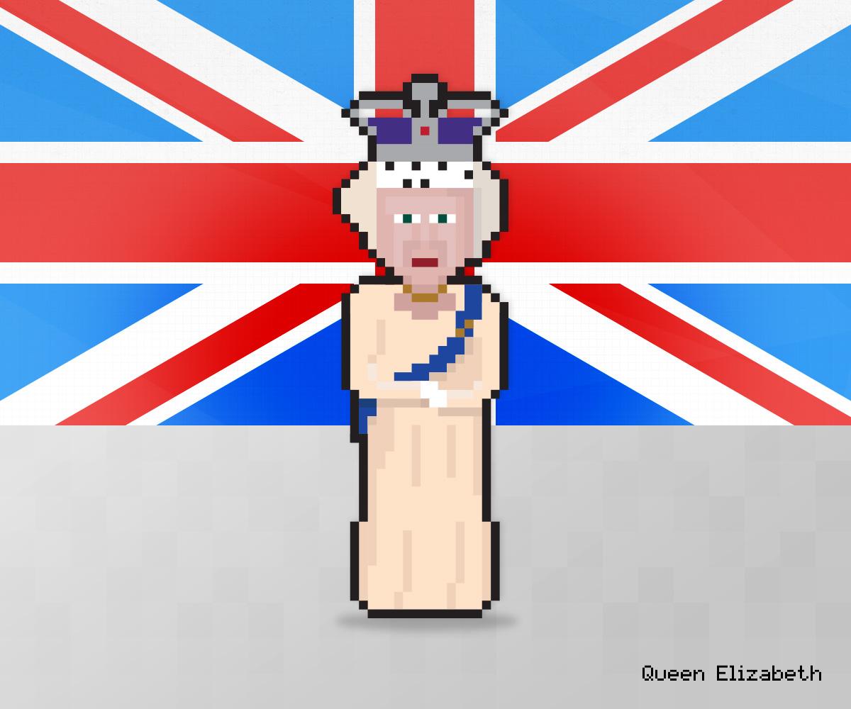 Queen Elizabeth as 8-bit game character