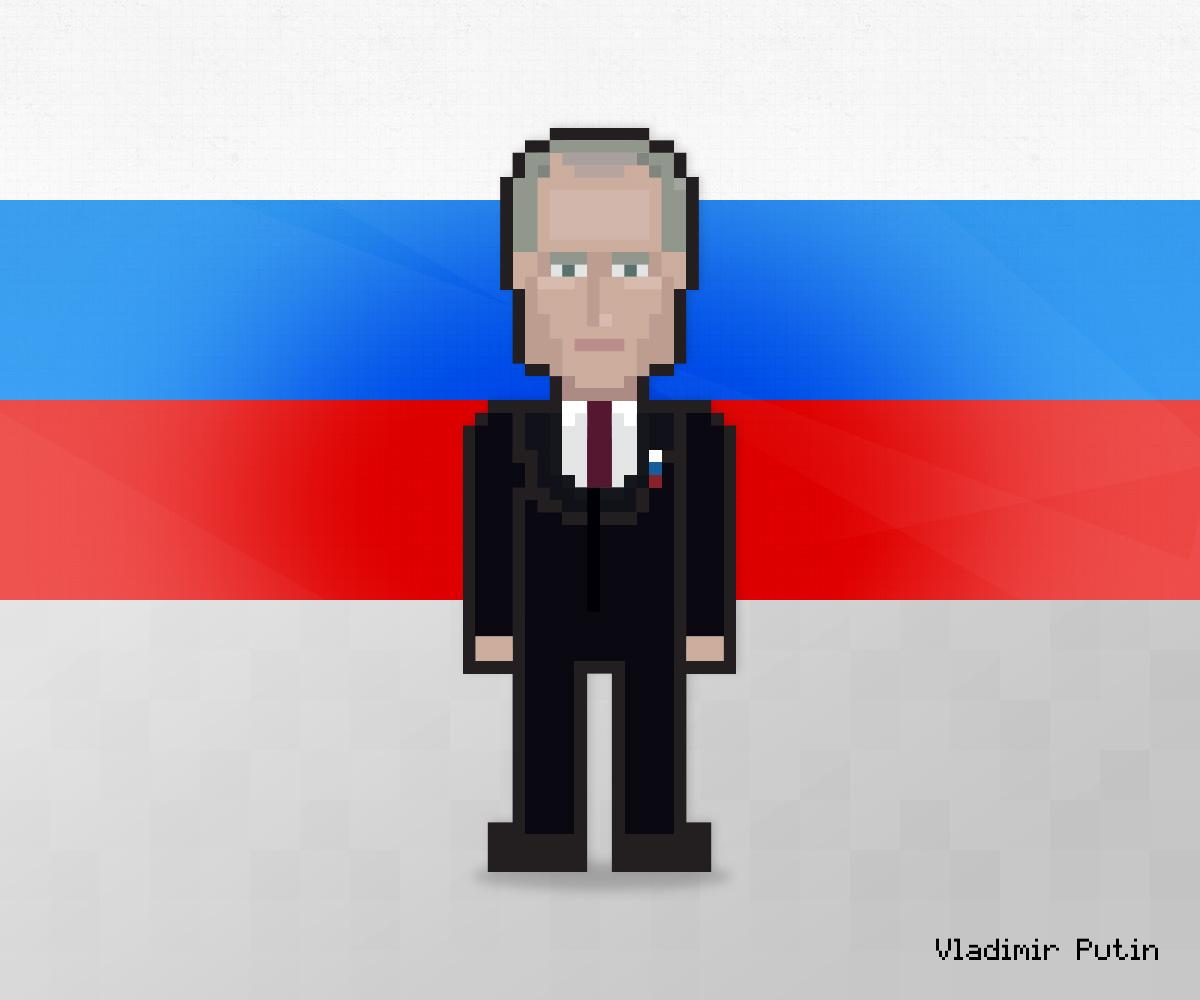 Vladimir Putin as 8-bit game character