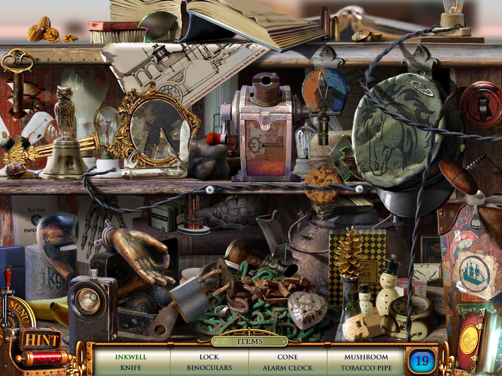 Hidden Object Scene - find all 19 items and get the key