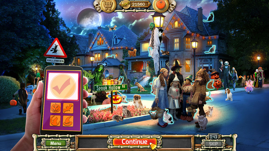 Halloween Trick or Treat 2 Cats and Dogs Handheld Puzzle Locations