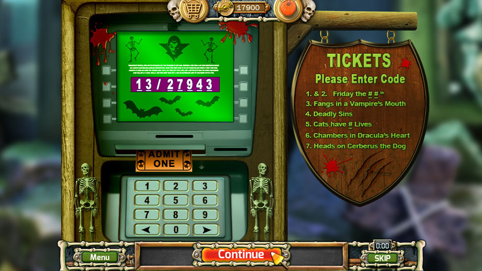 Halloween Trick or Treat 2 Dracula's Castle Ticket Entry Puzzle Solution