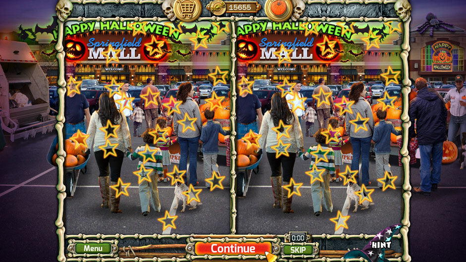 Halloween Trick or Treat 2 Mall Parking Lot 25 Differences Puzzle Solution