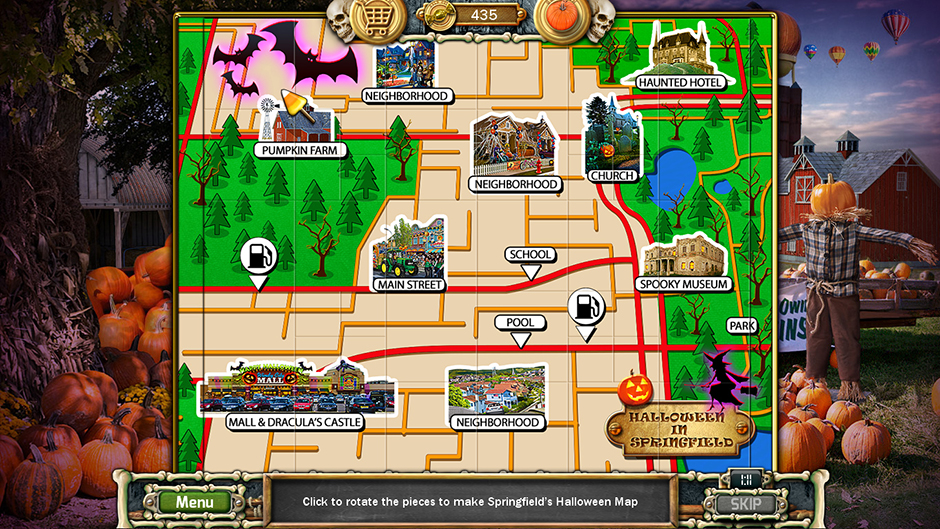 Halloween Trick or Treat 2 Springfield Halloween Map Puzzle Solution