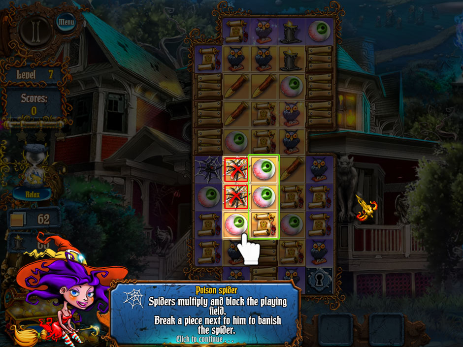 Save Halloween City of Witches Spirits and Spiders Blocking Cells