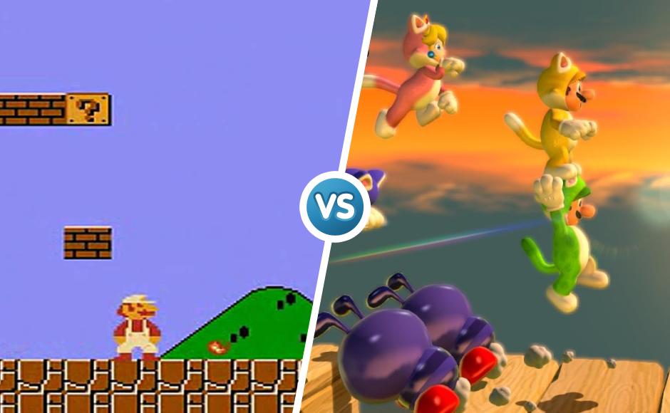 Super Mario 1985 vs 2013 graphic comparison