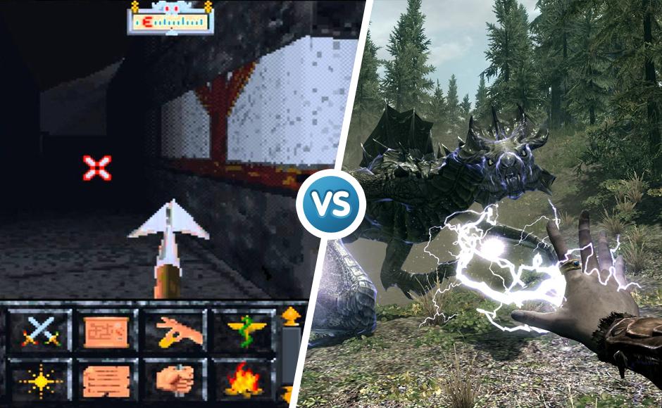 The Elder Scrolls 1994 vs 2011 graphic comparison
