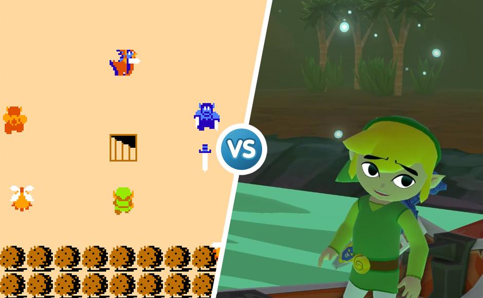 The Legend of Zelda 1986 vs 2013 graphic comparison