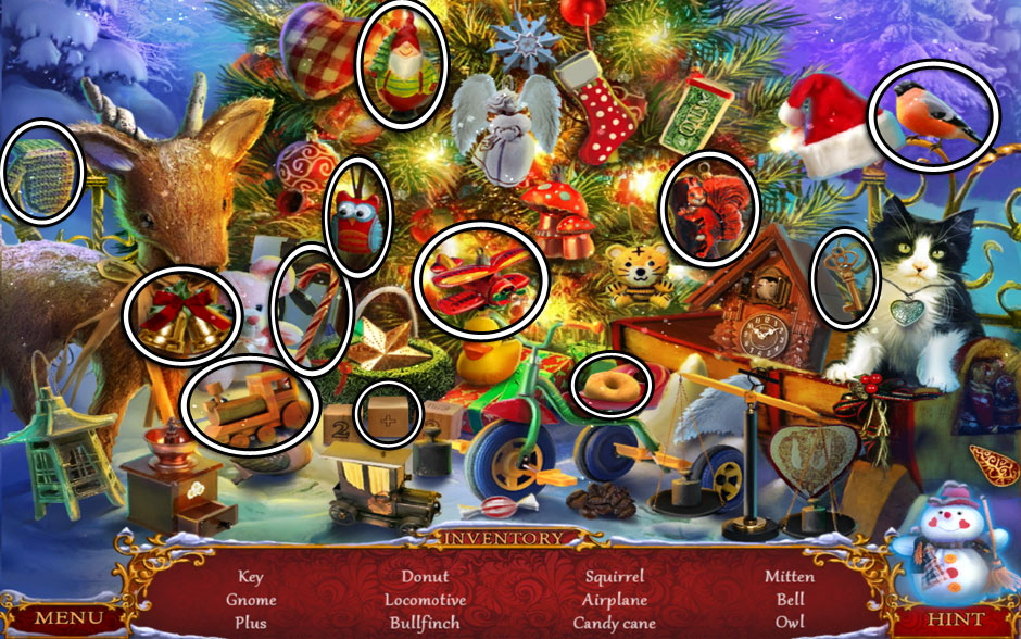 Christmas Adventure - Candy Storm Hidden Object Area Christmas Tree