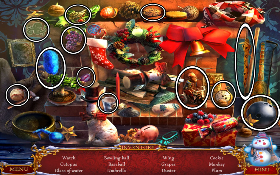 Christmas Adventure - Candy Storm Hidden Object Area Fireplace