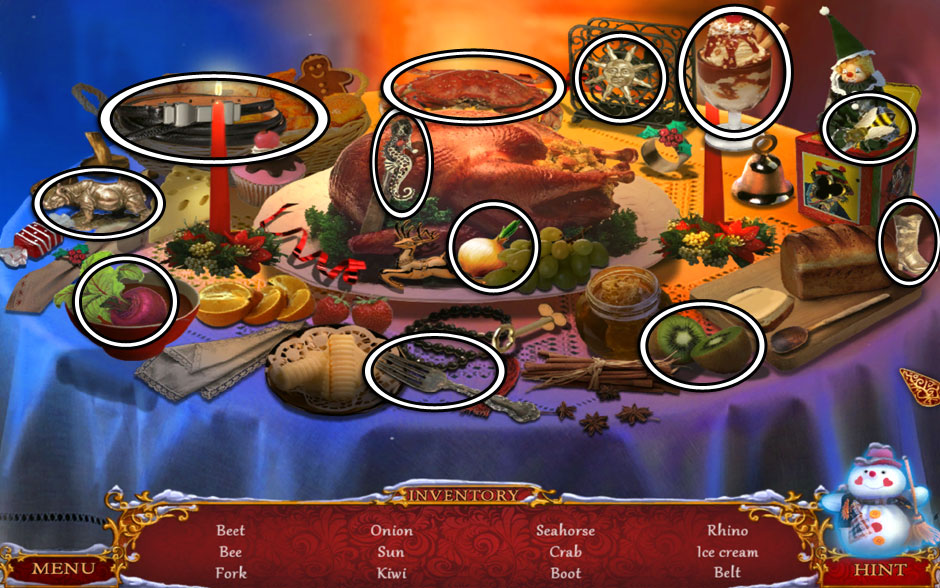 Christmas Adventure - Candy Storm Hidden Object Area Kitchen Table
