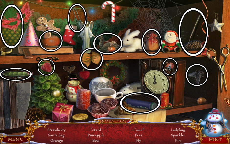 Christmas Adventure - Candy Storm Hidden Object Area Sitting Room Shelf