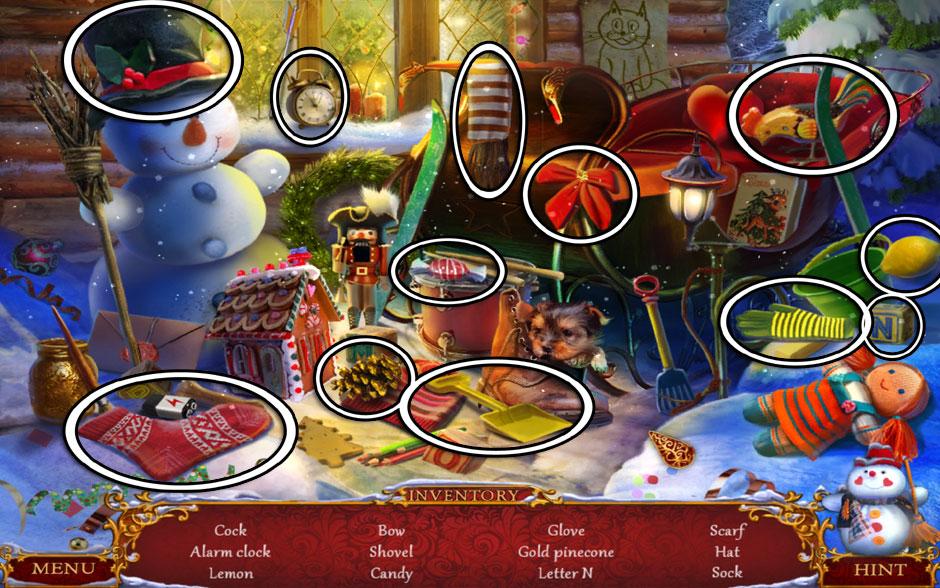 Christmas Adventure - Candy Storm Hidden Object Area Sleigh