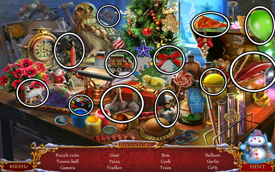 Christmas Adventure - Candy Storm Hidden Object Area Upstairs Table