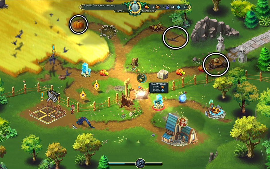 Elven Legend 2 - The Bewitched Tree Level 2 - Scarecrow Part Locations