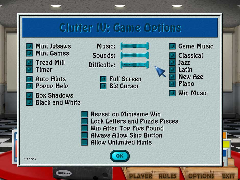 Clutter IV - Minigame Madness - Game Options