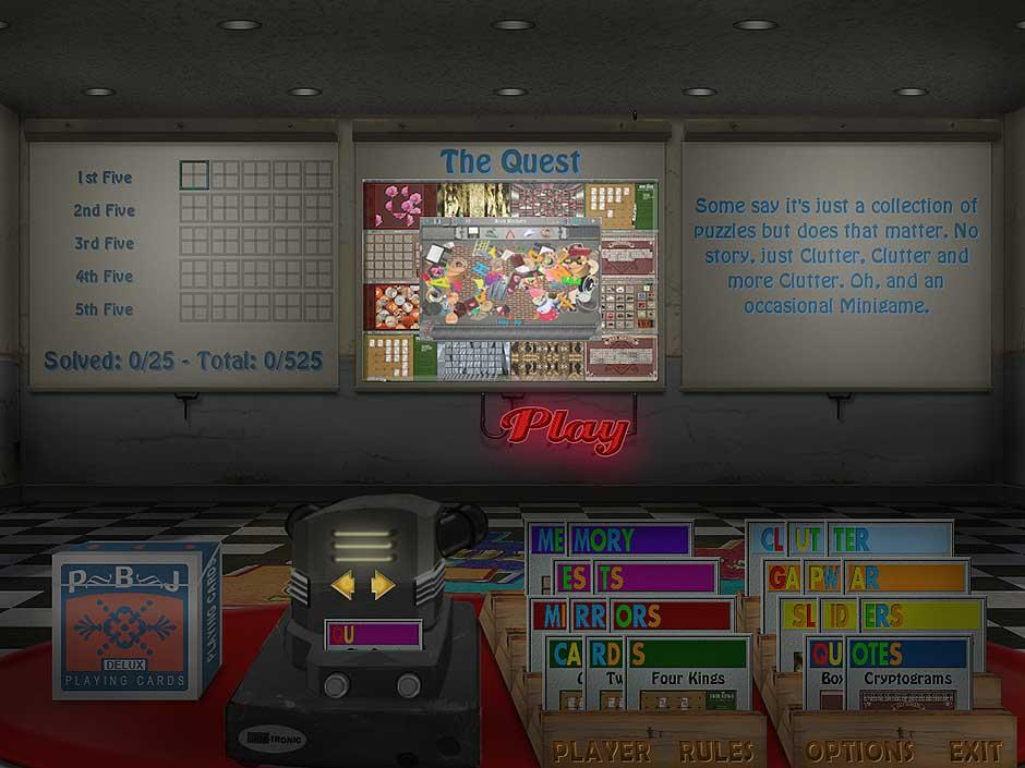 Clutter IV - Minigame Madness - Main Menu