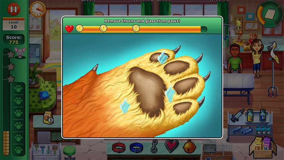 Minigame - Remove thorns and glass from paws!