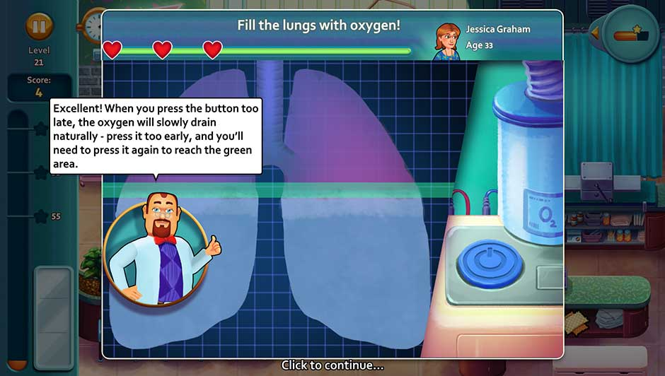 Minigame - Fill the lungs with oxygen!