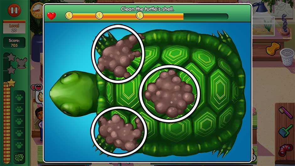 Dr. Cares - Amy's Pet Clinic - Minigame - Clean the turtle's shell!