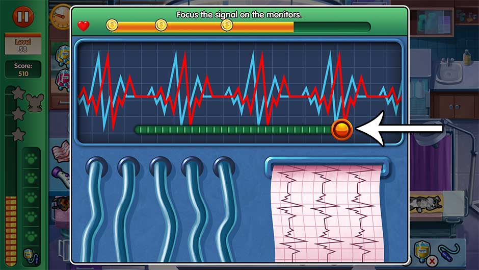 Dr. Cares - Amy's Pet Clinic - Minigame - Focus the signals on the monitor!