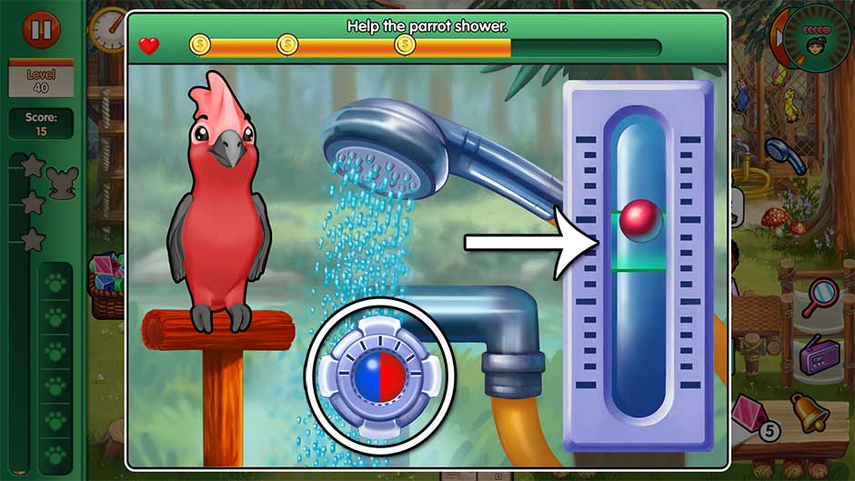 Dr. Cares - Amy's Pet Clinic - Minigame - Help the parrot shower!