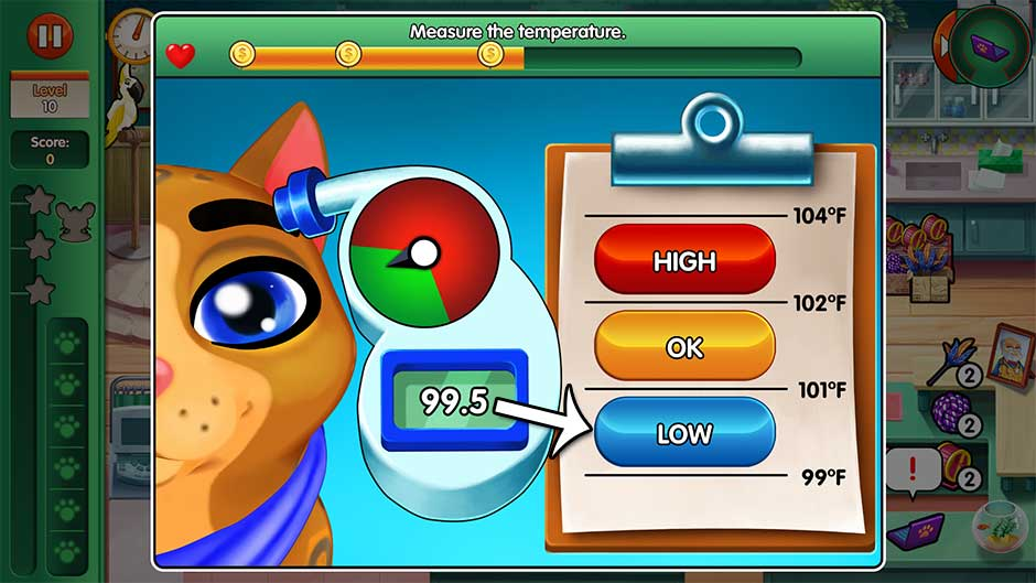 Dr. Cares - Amy's Pet Clinic - Minigame - Measure the temperature!