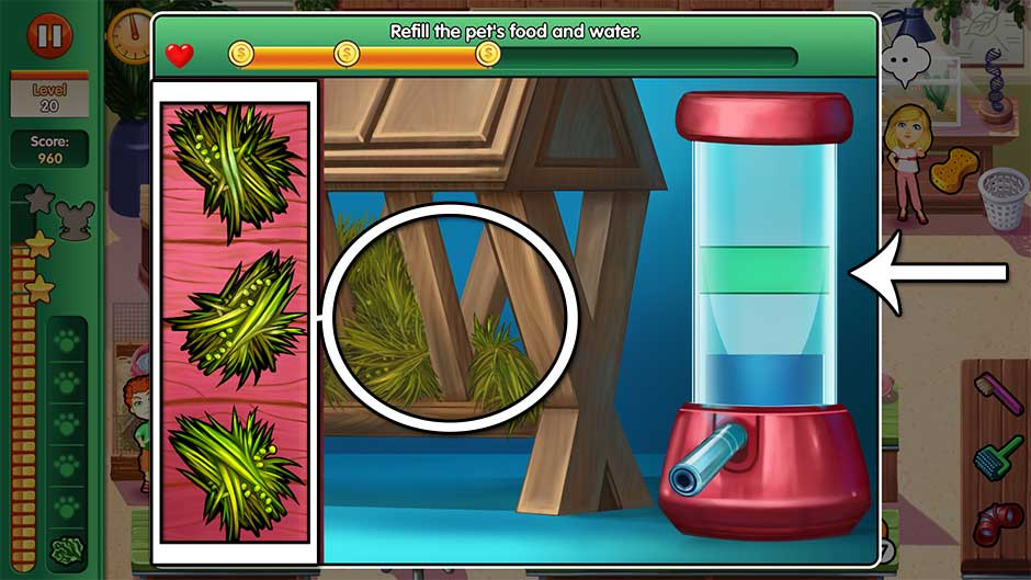 Dr. Cares - Amy's Pet Clinic - Minigame - Refill the pet's food and water!