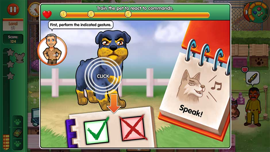 Dr. Cares - Amy's Pet Clinic - Minigame - Train the pet to react to commands!