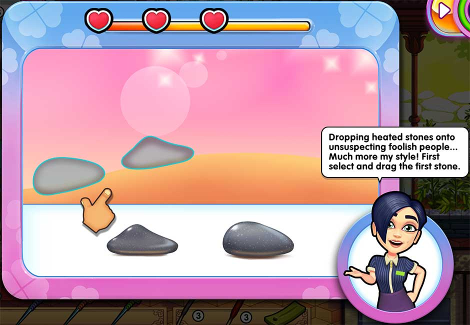 Sally's Salon - Kiss & Make-Up - Minigame - Hot Stones Massage