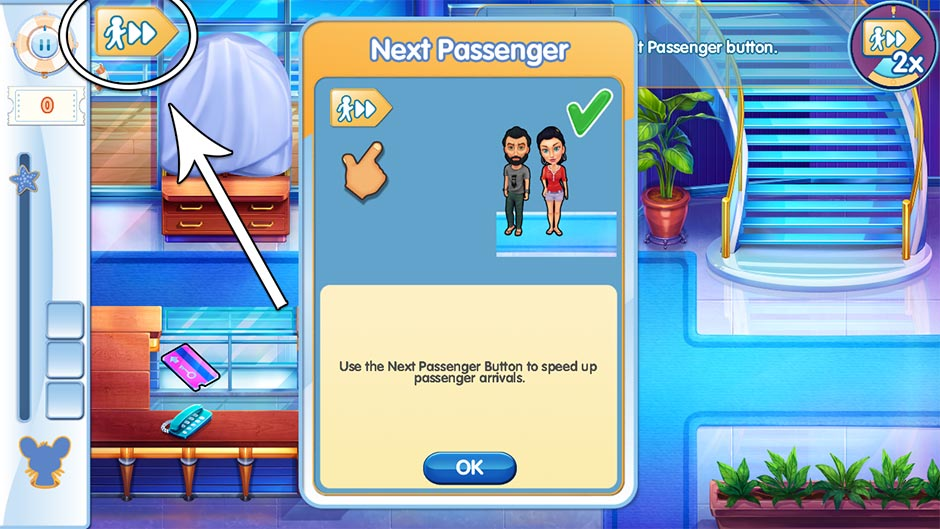 The Love Boat - Second Chances Collector's Edition - Tutorial - Next Passenger Button
