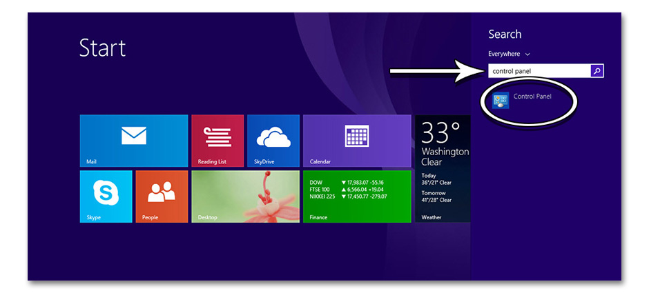 Step 2 - How to Find the Control Panel in Windows 8 - GameHouse