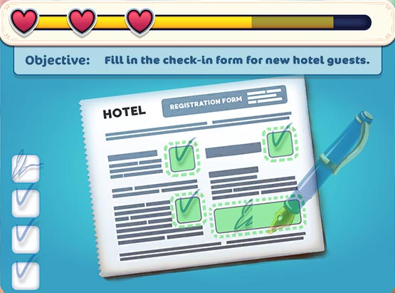 Hotel Ever After - Ella's Wish Official Walkthrough - Minigame - Fill in the check-in form!