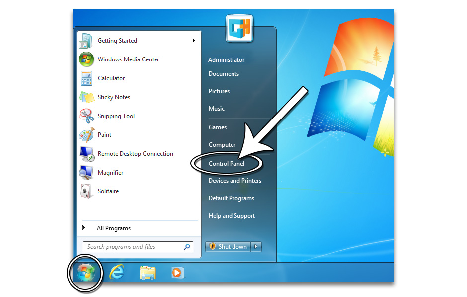Step 2 - How to Open the Control Panel in Windows 7 - GameHouse