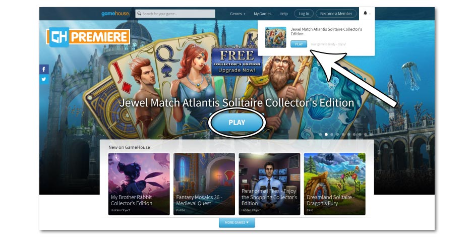 Step 4 - How to Redownload Jewel Match Atlantis Solitaire Collector's Edition - GameHouse