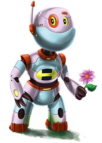 Rainbow Mosaics - Garden Helper - Robot Character Art
