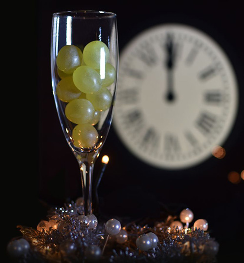 In Spain, people celebrate New Year's by eating 12 grapes at midnight.