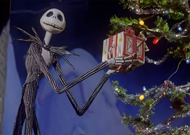 Jack Skellington holds a gift in The Nightmare Before Christmas.