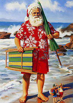 Santa Claus cools off in sunny Australia for Christmas.