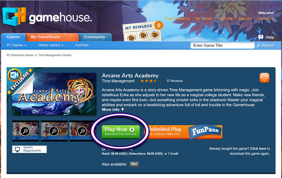 Arcane Arts Academy Game Page - GameHouse Legacy Platform