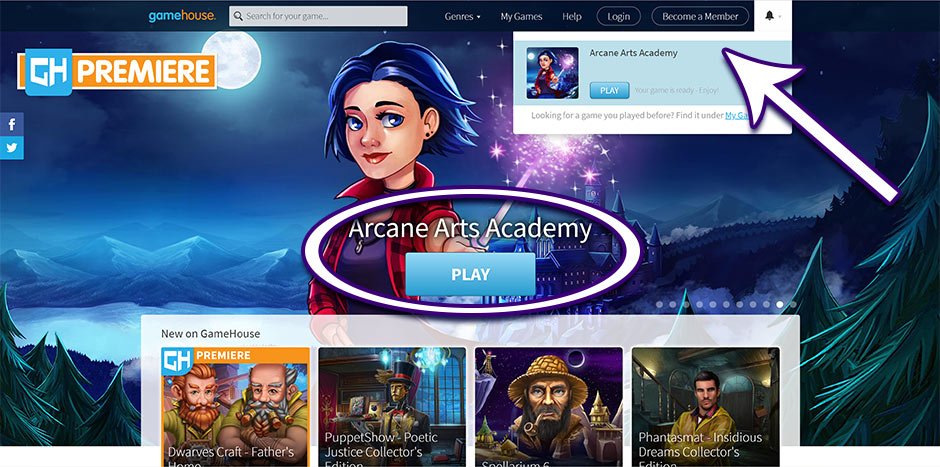 Step 4 - How to Redownload Arcane Arts Academy - GameHouse